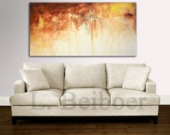 ORIGINAL Large art modern abstract painting 30 x 60 contemporary colorful XL original abstract oil painting fine art design by L.Beiboer