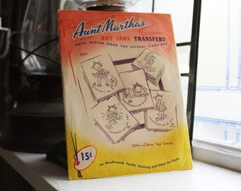 Pickaninnies Tea Towels Pattern Aunt Martha's Hot Iron On Transfers Vintage Craft Supply Pattern 3341