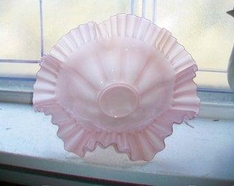 Antique Pink Glass Bride's Basket Bowl