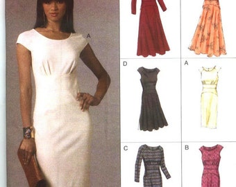 VOGUE OPTIONS PATTERN v8685 Size 6-12 Misses Dress with Straight or Full Skirt Pattern Very Versatile Uncut Factory Folded