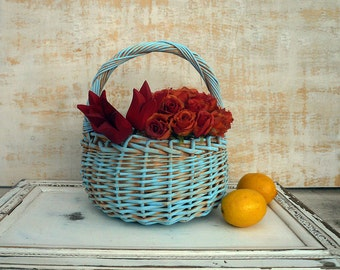 Wicker Basket, Vintage Upcycle Farmhouse Basket With Handle, Aqua Beige  Flower and Fruit Basket For Any Storage Use In very Good Condition.