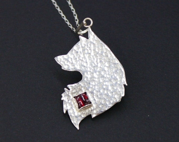 Wolf Pendant Sterling Silver Wolf Necklace Garnet Mens Pendant Gift for Men Animal Necklace Wolf Jewelry ciondolo maschile pendentif hommes