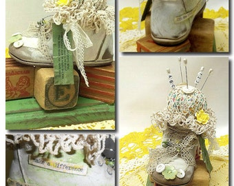 Repurposed Vintage Baby Shoe, Pin Cushion, Baby Blocks, Doily, Yellow Flowers,Green, Ladish Pearl Buttons, Cottage Chic,Rustic