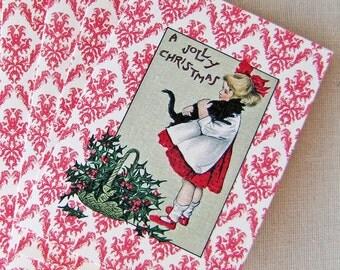 Christmas Kitty Holiday Greeting Card - Jolly Christmas - single - A2 - kraft envelope - Girl and Black Cat -  Holly - Vintage Postcard