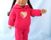 American Girl Doll Clothes - Valentine Doll Clothes -  Doll Hoodie - 18 Inch Doll Clothes - Rose with Sequin Heart - Hoodie and Sweatpants