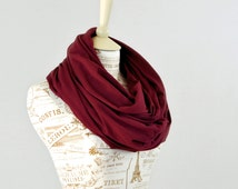 Maroon Infinity Scarf, Wine Circle Scarf, Jersey Cotton Burgundy Scarf, Red Circle Scarf, Scarves Women Winter, Gift for Her Wife Girlfriend