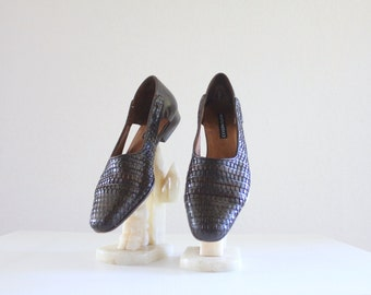 italian woven leather slingbacks / sesto meucci / 8n