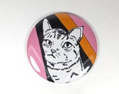 80s cat magnet - colorful cat illustration magnet - funny cat portrait magnet - pink and orange button magnet - cat lover gift - cute cat