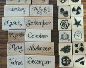 Close to My Heart 12 months of the year words rubber stamp plus 12 mics. stamps