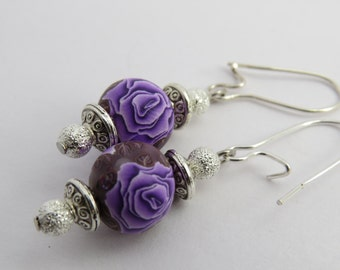 Purple rose Earrings , Rose earrings, Rose jewelry, Clay earring, Flower earrings, dangle earrings, handmade earrings, unique earrings