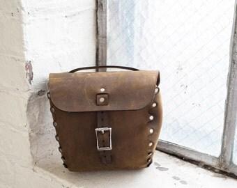 Leather Bicycle Bag / Ready to ship /Handlebar Bag, Seat Bag, Saddle Bag, Full Grain, cycling bags, bike accessories