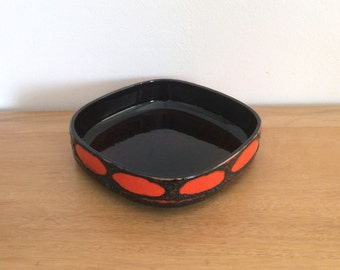 Vintage black, brown and orange fat lava ceramic fruit bowl or presentation dish West-German pottery