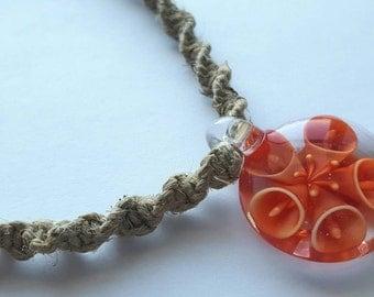 Hemp Necklace with Glass Pendant - Red - Reddish Orange - 100% natural hemp