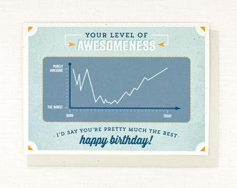 Geeky Birthday Card - Level of Awesomeness - You are the best - Happy Birthday