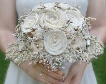 Rustic Wedding Bouquet - Ivory Burlap // Bridal Bouquet, Burlap Bouquet, Dried Flower Bouquet, Vintage Book Flowers, Natural, Sola Flowers