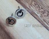 Apple Earrings / Hand Stamp Surgical Steel Earrings / Dainty Apple Studs / Teacher Appreciation Gift