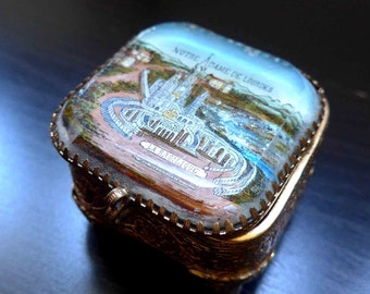 So Cute ! Rare Very Old 1900 - 1940's French Vintage Small Religous Souvenir Box from Lourdes