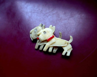 So Cute ! WWII 1940s Occupied Japan Celluloid Scotties Brooch