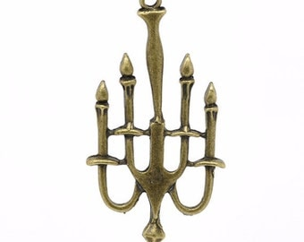 20 Candelabra Charms - WHOLESALE - Large - Antique - 53x28mm - Ships IMMEDIATELY from California - BC149b