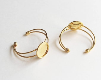 3 Gold Cuffs -  25mm Cabochon Setting - Adjustable - Ships IMMEDIATELY from California - A464a