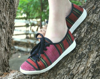 Womens Sneaker Shoe In Tribal Handwoven Naga Textiles, Vegan Trainers - Jamie