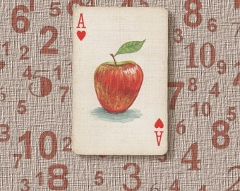 Apple original art ACEO / altered vintage playing card. The Ace of Hearts with a miniature painting of a red apple
