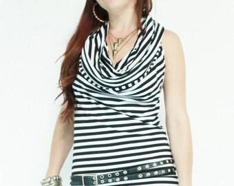 SALE 2XL Black Striped Hoodie Top