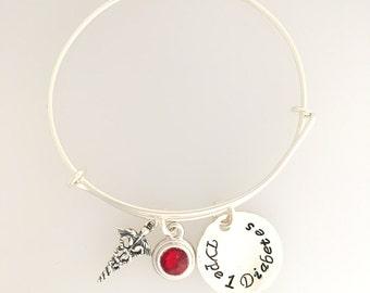 Medical ID - Sterling Silver Adjustable Bangle Charm Bracelet - Personalized Bracelet -  Stacking - Custom - Sterling Silver  - Adjustable