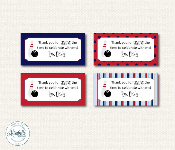 Bowling Printable Digital Party Favor Tags -- Mirabelle Creations