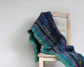 Handwoven chunky scarf in green blue and purple Fall winter women accessories, OOAK large wool shawl