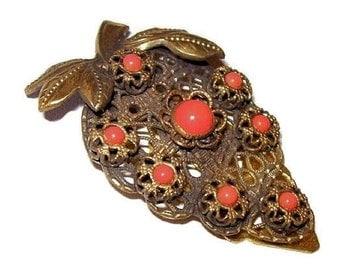 """Coral Dress Fur Clip Art Deco Nouveau Filigree Brass Metal Floral Design 2.5"""" Vintage"""