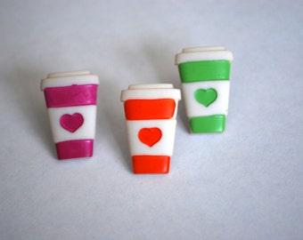 Coffee Earrings -- Coffee Studs, Coffee Lover Earrings, Coffee Cup Studs, Pick your favorite color!