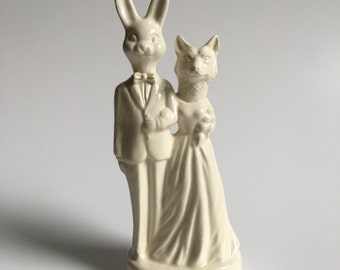 Bunny and Fox Ceramic Wedding Cake Topper