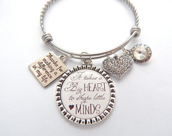 TEACHER Gift, teacher bracelet, Gifts for Teachers, Teacher Bangle, Thanks for helping me grow, End of year gift, difference in my life