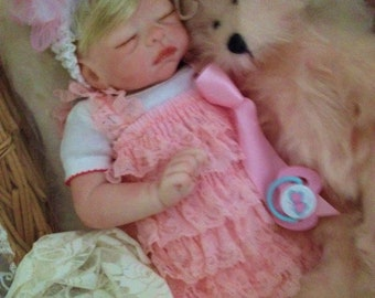 Reborn Baby Maggie from the Molly 19 inch Kit  Completed Baby with Magnetic Pacifier