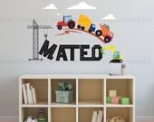 Custom Name Wall Decal   Trucks & Tractors   Custom Baby Nursery, Children's Room Interior Design   Easy Squeegee Application   004