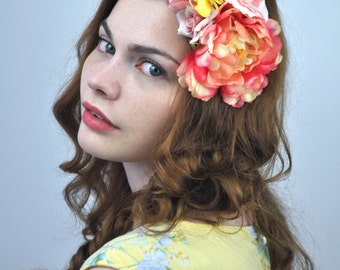 Peony and Roses Flower Hair Clip Fascinator in Bright Yellow and Pink
