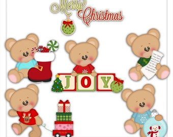 Digital Clipart - Bear Clipart - Christmas Clip Art - Kristi W Designs