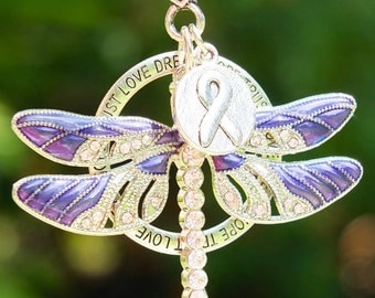 PURPLE AWARENESS DRAGONFLY Clip or ornament