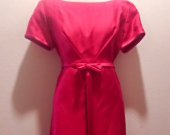 Vintage 60s Vivid Strawberry Pink Full Length Dress by Emma Domb / Size L-XL