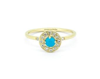 The Cordelia Ring - Diamond Turquoise Halo Ring Handmade 9ct Gold