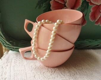 Four Baby Pink Melmac Cups, Pink Stetson Dinnerware, Romantic Melamine Drinkware