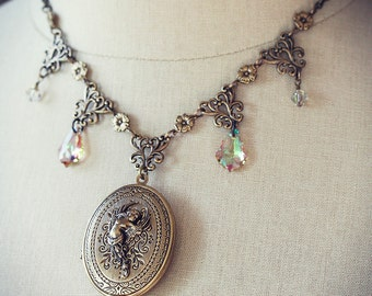 SERAPHINA Locket Victorian Bridal Angel Locket with Solid Perfume inside, Heirloom Renaissance Bridal Necklace, Custom Options Available