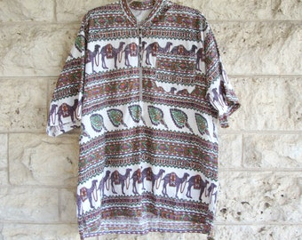 Indian Shirt Block Print Tunic Camel Print Men's Indian Block Print Hippie Boho Shirt Ethnic Boho India Cotton Tunic