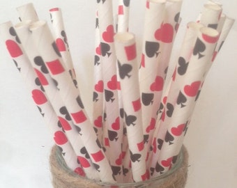 Poker Straws ~ Card Straws ~ Alice in Wonderland Straws ~ Las Vegas Party 25 or 50