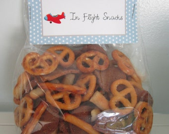 In Flight Snacks ~ Snack Topper ~ Airplane Party ~ Treat Topper ~ Toppers & Bags