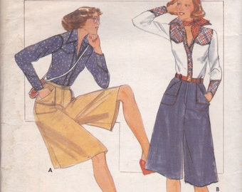 Western Style Blouse & Culottes Pattern Butterick 4918 Size 10