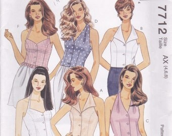 Halter Top Pattern McCalls 7712 Sizes 4 6 8 Uncut