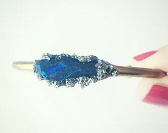 blue titanium quartz pyrite cuff bracelet, crystal bracelet, pyrite cuff, bangle bracelet, quartz jewelry, crystal jewelry, gold cuff