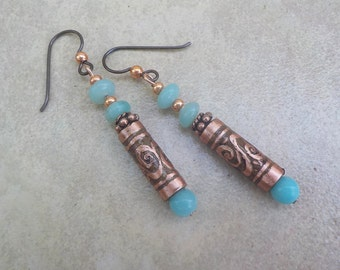 Etched copper tube earrings with aqua beads. 2 inch dangly earrings with hand etched copper and blue amazonite beads.